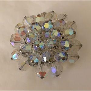 Arora Borealis AB Crystal 3 Tier Circle Brooch Pin